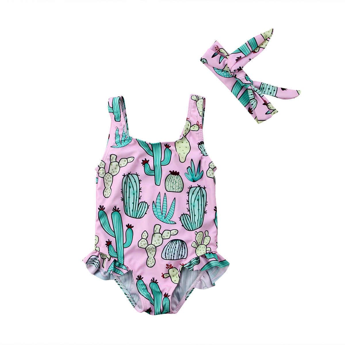 لطيف الصيف الوليد طفل طفلة الصبار بيكيني ملابس السباحة واحدة قطعة الرضع ملابس سباحة للفتيات الاستحمام بحر مع العصابة 0- 3T