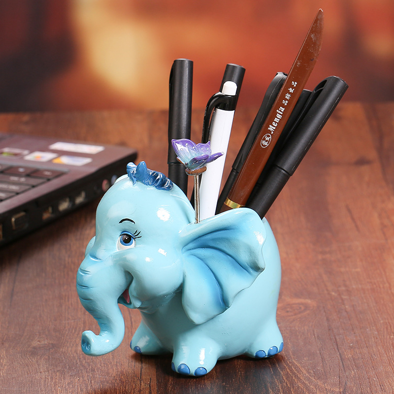 Crafts Cartoon Animal Pen Holder Office Accessories Home Desktop Decoration Multifunction Storage Desk Organizer Brush Pot
