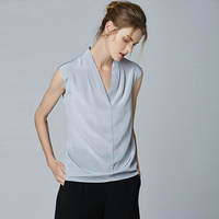 100% Heavy Silk Top Women T Shirt Solid Simple Design sleeveless 5 Colors Office Work Vest Elegant Style New Fashion