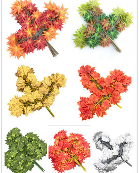 36pcs Red Maple Tree Leaf Branch Artificial Greenery Plant Green Maple Tree Stems