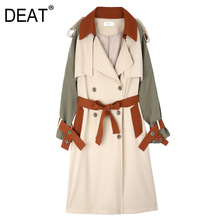 DEAT 2021 Women's Coat Full Sleeve Lapel Hit Color Lacing Over Long Loose Trench Bow Casual New Autumn Ashion Clothing AM787