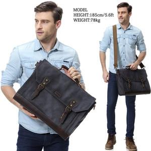 Image 5 - VASCHY Briefcase for Men Vintage Canvas Messenger Bag Laptop Satchel Shoulder Bag Bookbag with Detachable Strap Briefcase Men