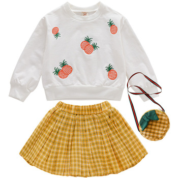 Baby Girls Clothes Summer Pineapple Toddler Girls Clothes Set T-shirt+Skirt Tracksuit Suit Kids Outfit For Girl Children Clothes summer baby toddler girl clothes t shirt skirts kids clothes sports suit for girls clothes 2pcs set children clothing 3 7 year