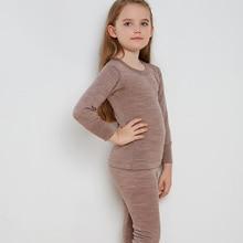Merino wool thermal kids underwear set baby girl boys winter thicker 260GSM  soft clothes
