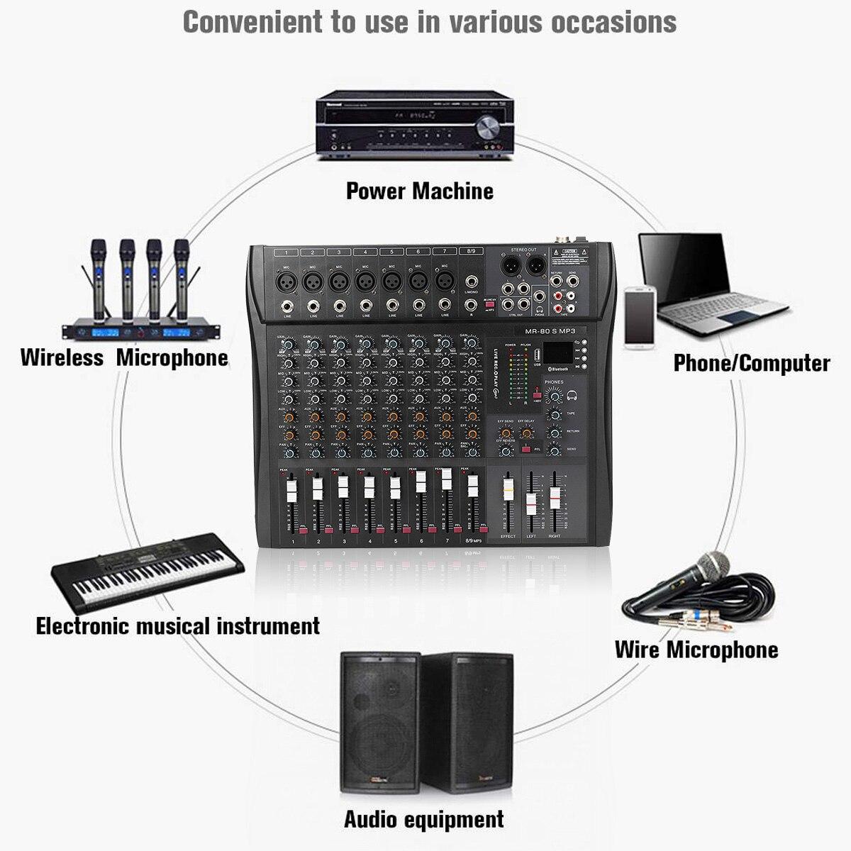 LEORY 9 Kanal Professionelle Konsole Studio Audio Mixer USB bluetooth DJ Sound Mischen für Familie KTV Campus Rede Treffen