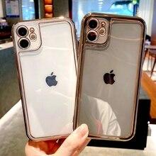 Yumuşak elektroliz şeffaf telefon kılıfı için iPhone 11 12 Pro Max XS X XR 7 8 artı Mini SE 2020 darbeye dayanıklı tampon arka kapak