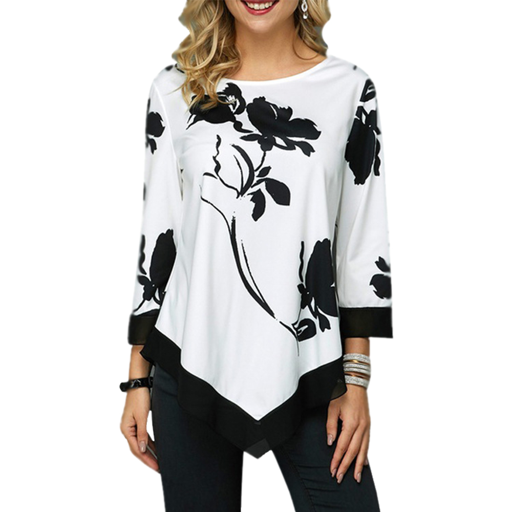 WENYUJH 2019 New Arrival Women's Fashion Round Neck Shirt Long-sleeved T-shirt Women Print Irregular Hem Tunic Casual Tops