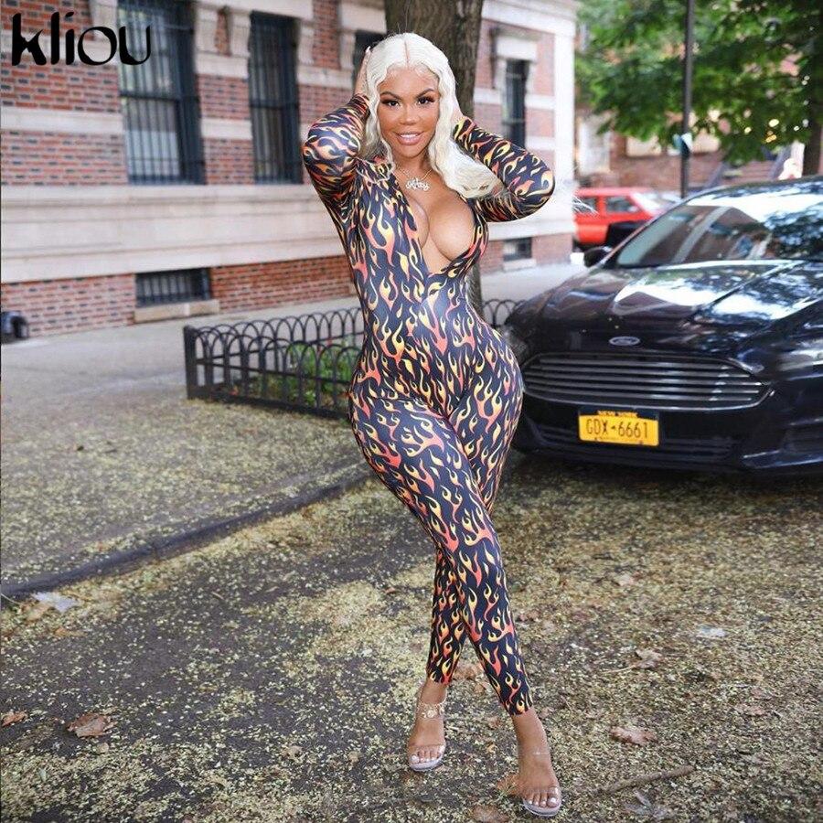 Kliou Women Fitness Playsuit Flame Print Elastic Skinny Zipper Rompers Long Sleeve Boysuit Autumn Female Full Length Slim Body