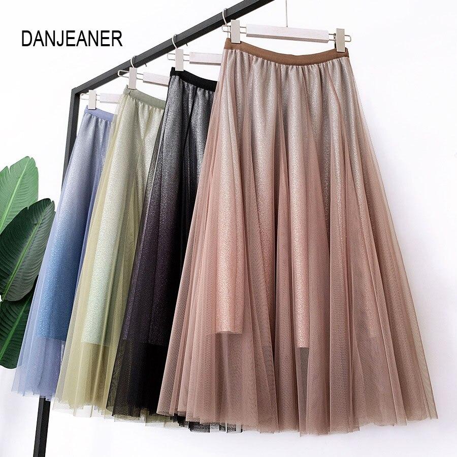 DANJEANER 2020 Spring Summer Vintage Skirts Women Elastic High Waist Tulle Mesh Skirt Long Pleated Tutu Skirt Female Jupe Longue