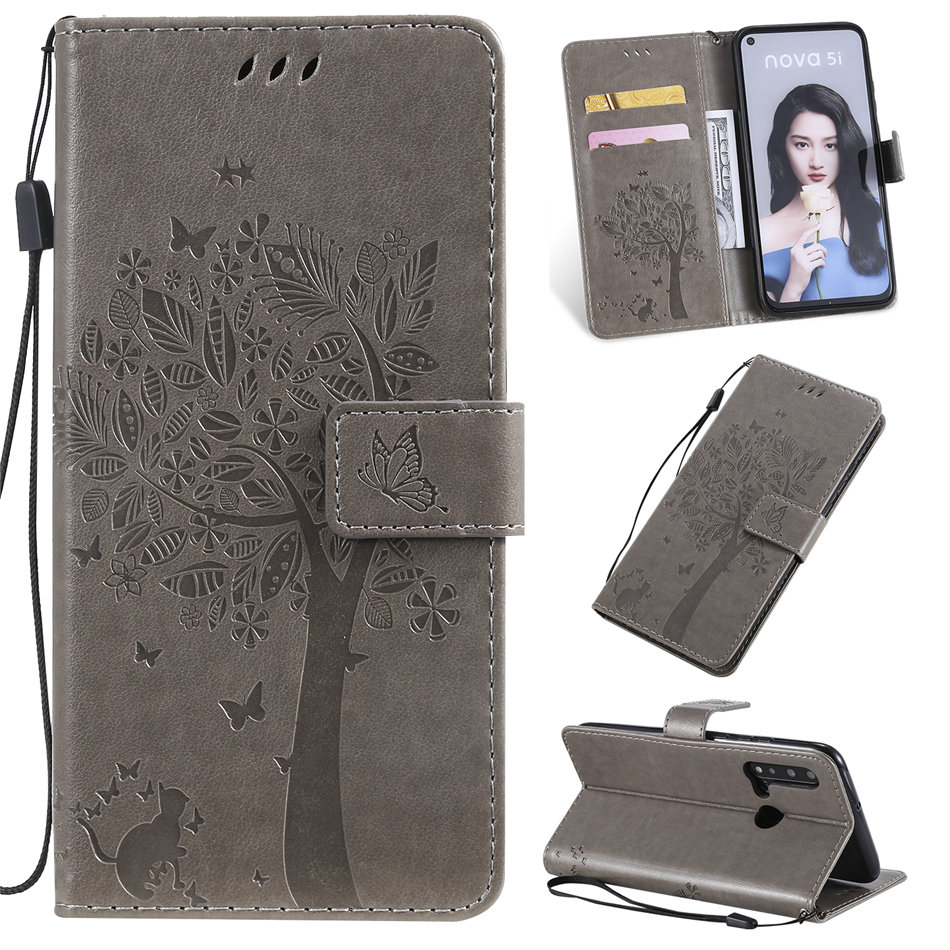 Girls Cute Flip Leather Case For Wallet Samsung Galaxy A51 A71 A10 A30S A50S A70S M30S M40 Tree Cat Embossing Stand Cover P06F image
