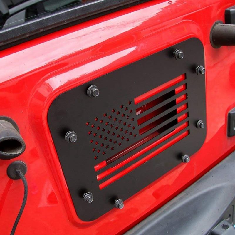Aço preto porta traseira ventilação-placa capa para