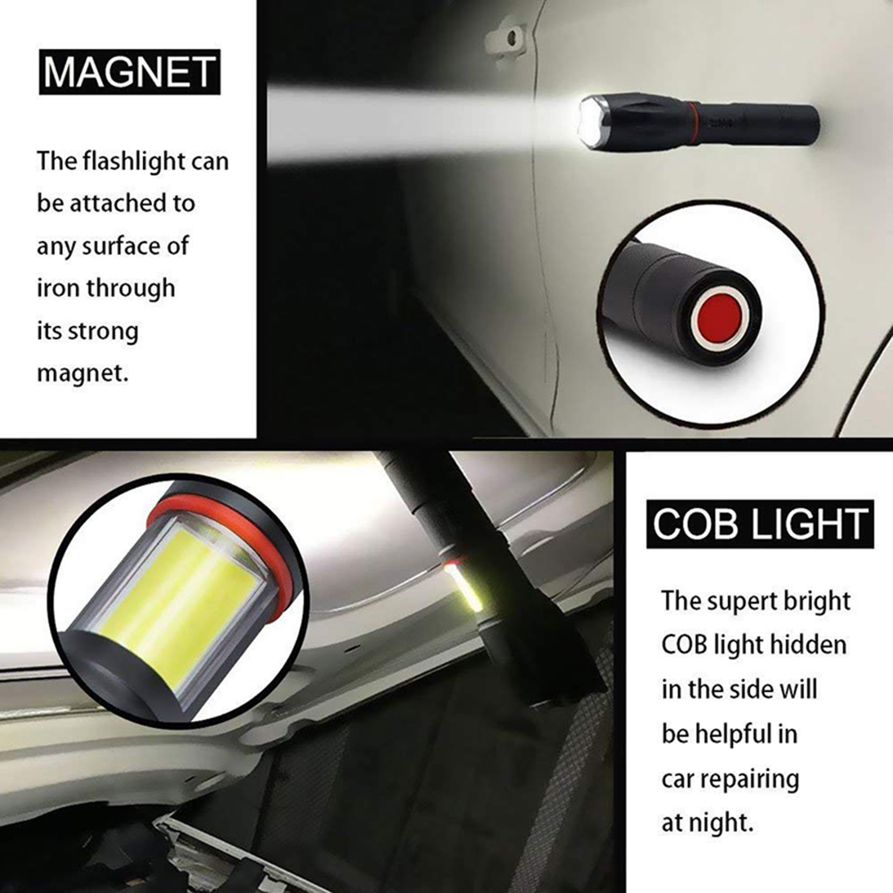 Glare LED Flashlight COB Side work light Zoomable LED Torch 6 lighting modes Tail magnet Adsorbable For camping cycling etc in LED Flashlights from Lights Lighting