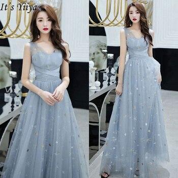 It's Yiiya Evening Dress Plus Size V-neck Robe De Soiree 2020 Embroidery Pattern Sleeveless Elegant Long Eveing Gowns LF202
