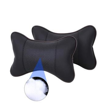 2020 new arrival car neck pillows both side pu leather single headrest fit for most cars filled fiber universal car pillow image