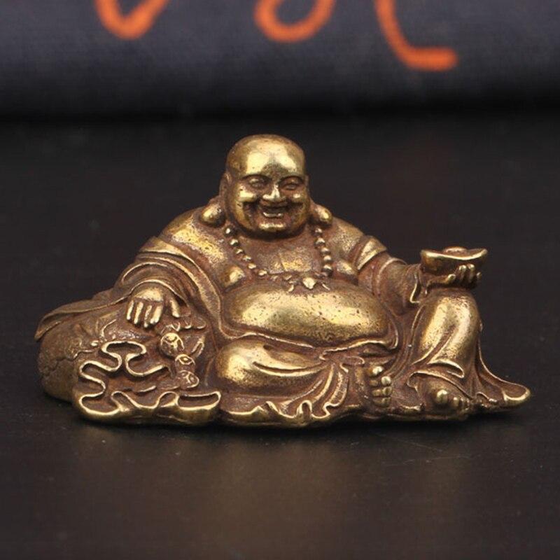 Античная бронзовая большая статуя Будды, медный орнамент, медные миниатюрные статуэтки для дома