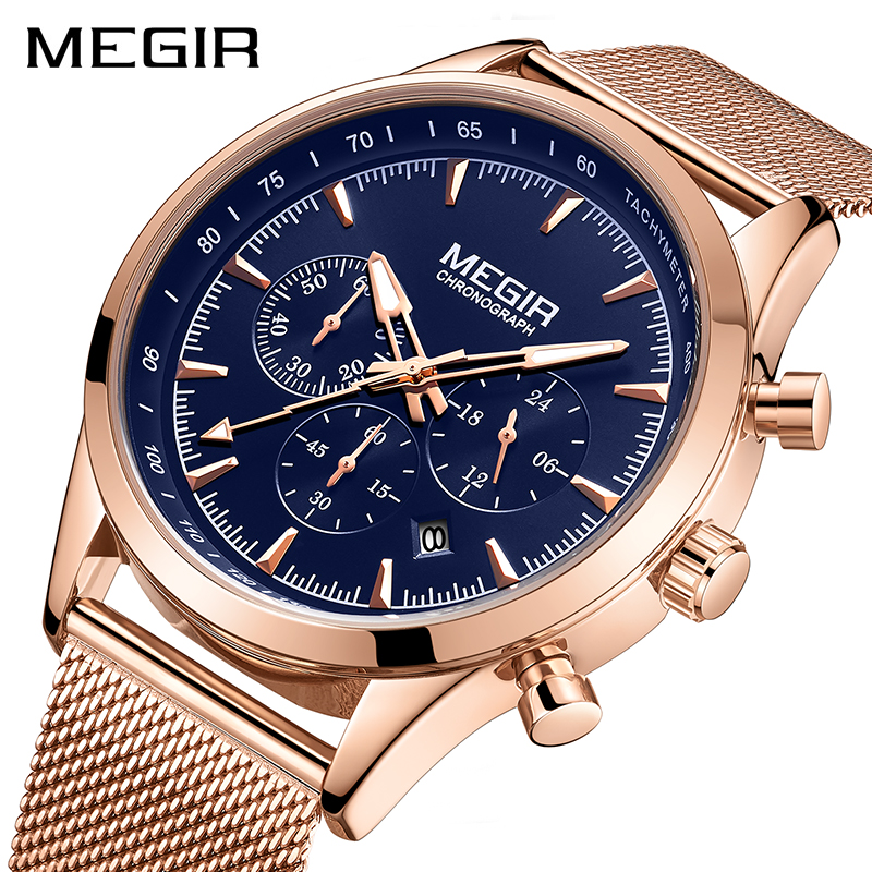 MEGIR Mens Watches Top Brand Rose Gold Stainless Steel Wrist Watch For Man Waterproof Business Quartz Watches Relogio Masculino
