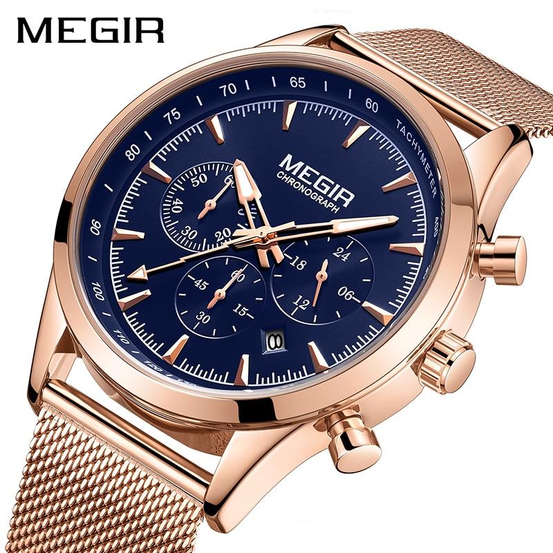 MEGIR Mens Watches Top Brand Rose Gold Stainless Steel Wrist Watch For Man Waterproof Business Quartz Watches Relogio Masculino