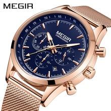 MEGIR Mens saatler Top marka gül altın paslanmaz çelik kol saati adam için su geçirmez iş kuvars saatler Relogio Masculino