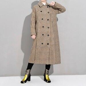 Image 5 - LANMREM 2020 primavera suelta Oficina señora abrigo mujer manga larga Turn down Collar sobre la rodilla doble pecho de lana sobretodo TA064