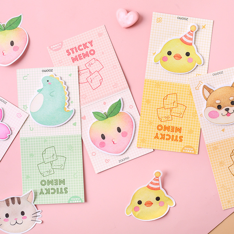 Fat Doodle Series Sticky Notes Memo Pad Diary Stationary Flakes Scrapbook Decorative Cute Cartoon N Times Sticky