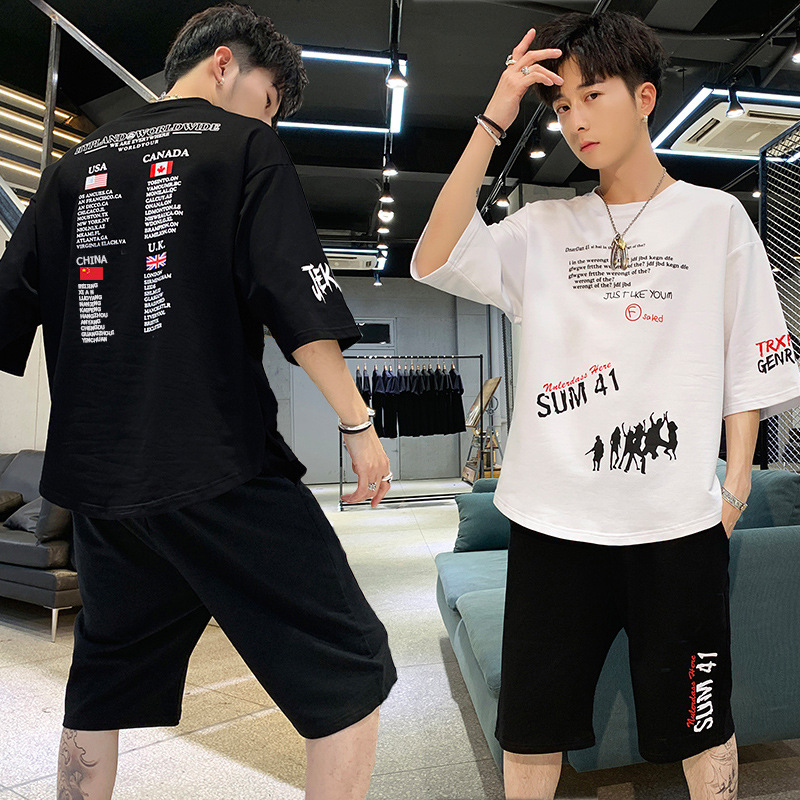Summer T-shirt 13 Short Sleeve Set 14-Year-Old Boy Casual 15 Junior High School Students 16 Teenager Handsome Sports A Set