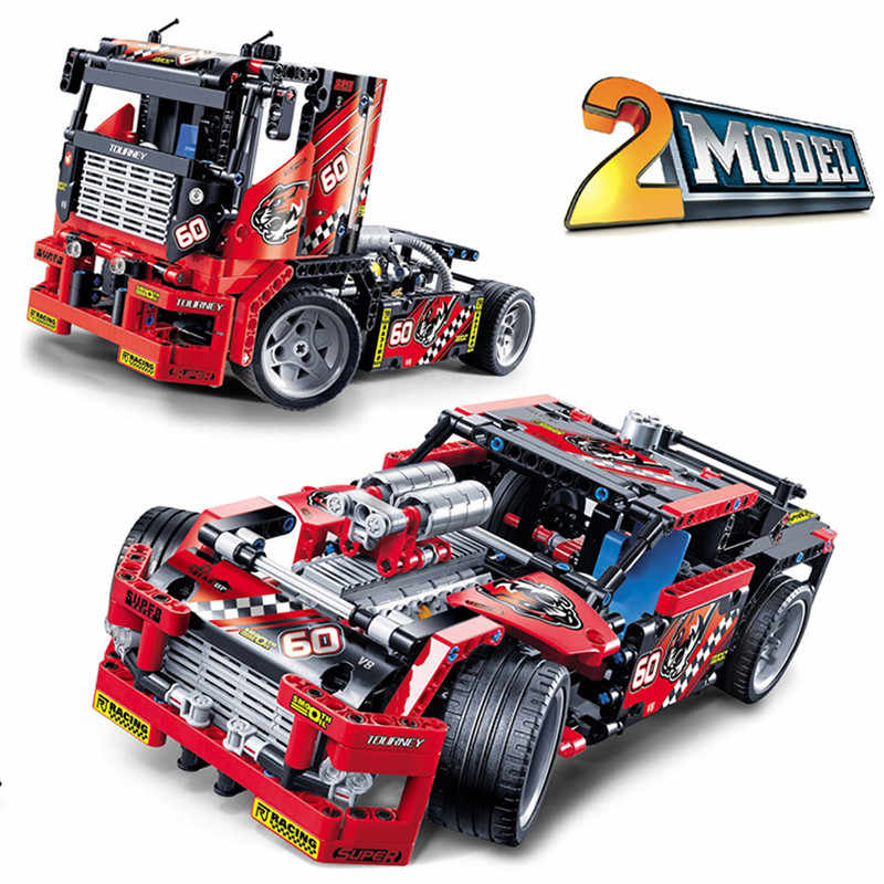 Race Truck Car 2 In 1 Transformable Firefighting Truck Deformable Motorcycle Legoings Technic 42041 8051 Blocks Toys Gift