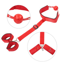 Red Nylon Handcuffs Back Cuffs Mouth Plug Bdsm Bondage Restraints Slave Harness Erotic Sex Toys For Couples Adult Games male body leather harness bondage belt slave restraints neck hand bundled straps cuffs bdsm fetish sex toys for men adult games