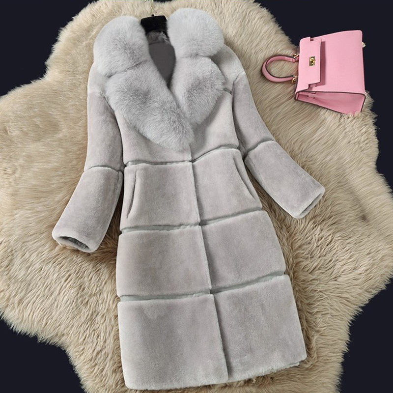 Lugentolo Faux Fur Coat Women Autumn And Winter New Stitching Fur Collar Turn-down Collar Covered Button Plus Size 5XL