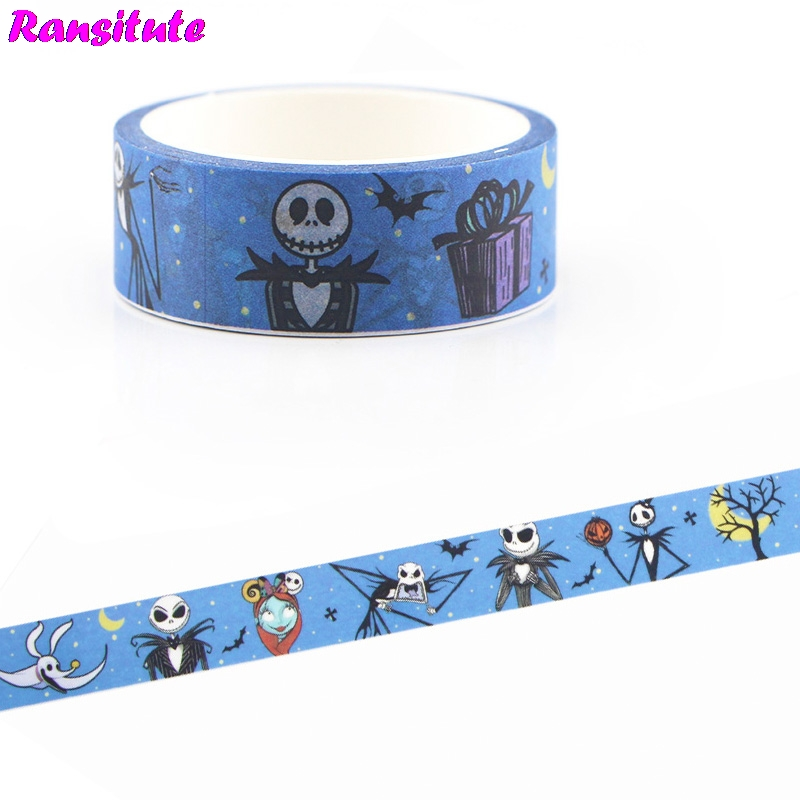Ransitute Horror Movie Horror Washi Tape DIY Japanese Hand Sticker Masking Decorative Tape Gifts  R658