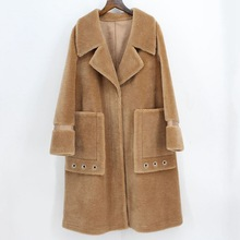 DUOUPA 2019  New  Fashion  Wool Fur Coat Fur Female Long Fur Coat Large Lapel Lamb Fur Grass Female Pocket Decoration Trend Coat coffee wide lapel side pocket design fashion coat