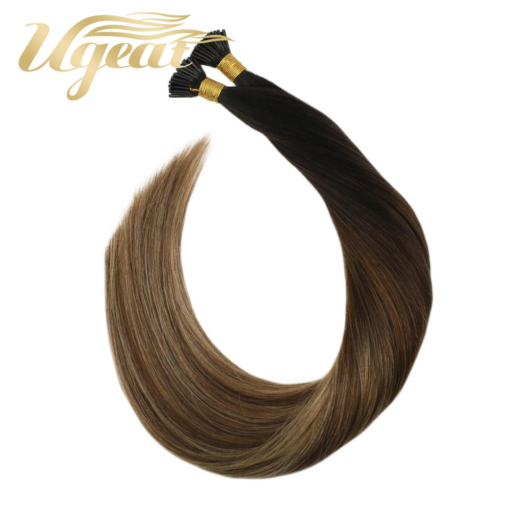 Ugeat  I Tip Stick Hair Extensions Pre Bonded Ombre Color T1B/4/27 Machine Remy Hair 14-24'' 40g/80g Straight 100% Human Hair