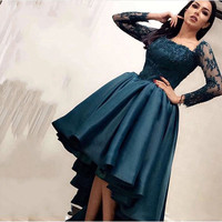 High Low Muslim Evening Dresses Ball Gown Long Sleeves Appliques Beaded Dubai Saudi Arabic Long Evening Gown Prom