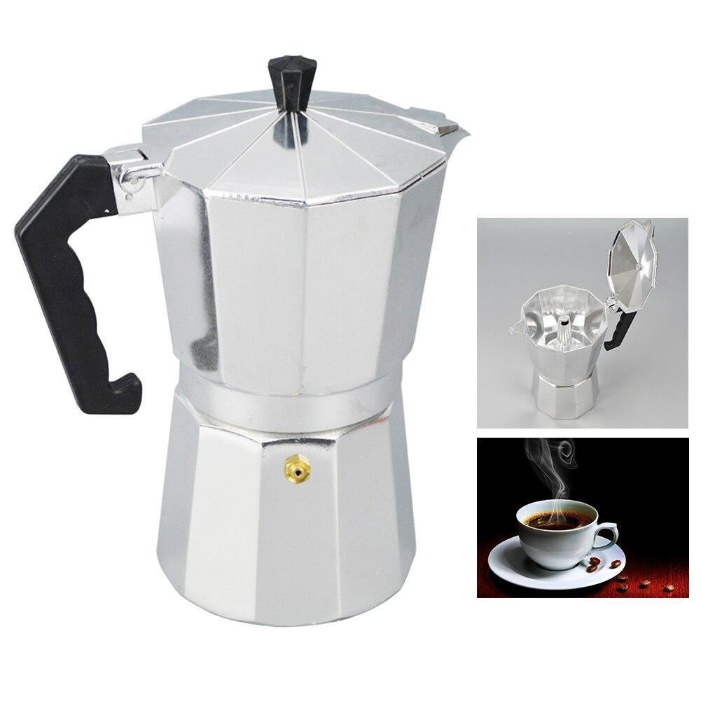 1pc Aluminum Moka Coffee Maker Italian Stove Top Percolator Pot Tool Moka Pot Cooker Gas Stove Furnace Alcohol Stove Accessories