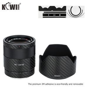 Image 5 - Lentille anti rayures et couvercle de pare soleil Film en Fiber de carbone pour Sony FE 55mm F1.8 ZA SEL55F18Z lentille et peau de ALC SH131 3M autocollant