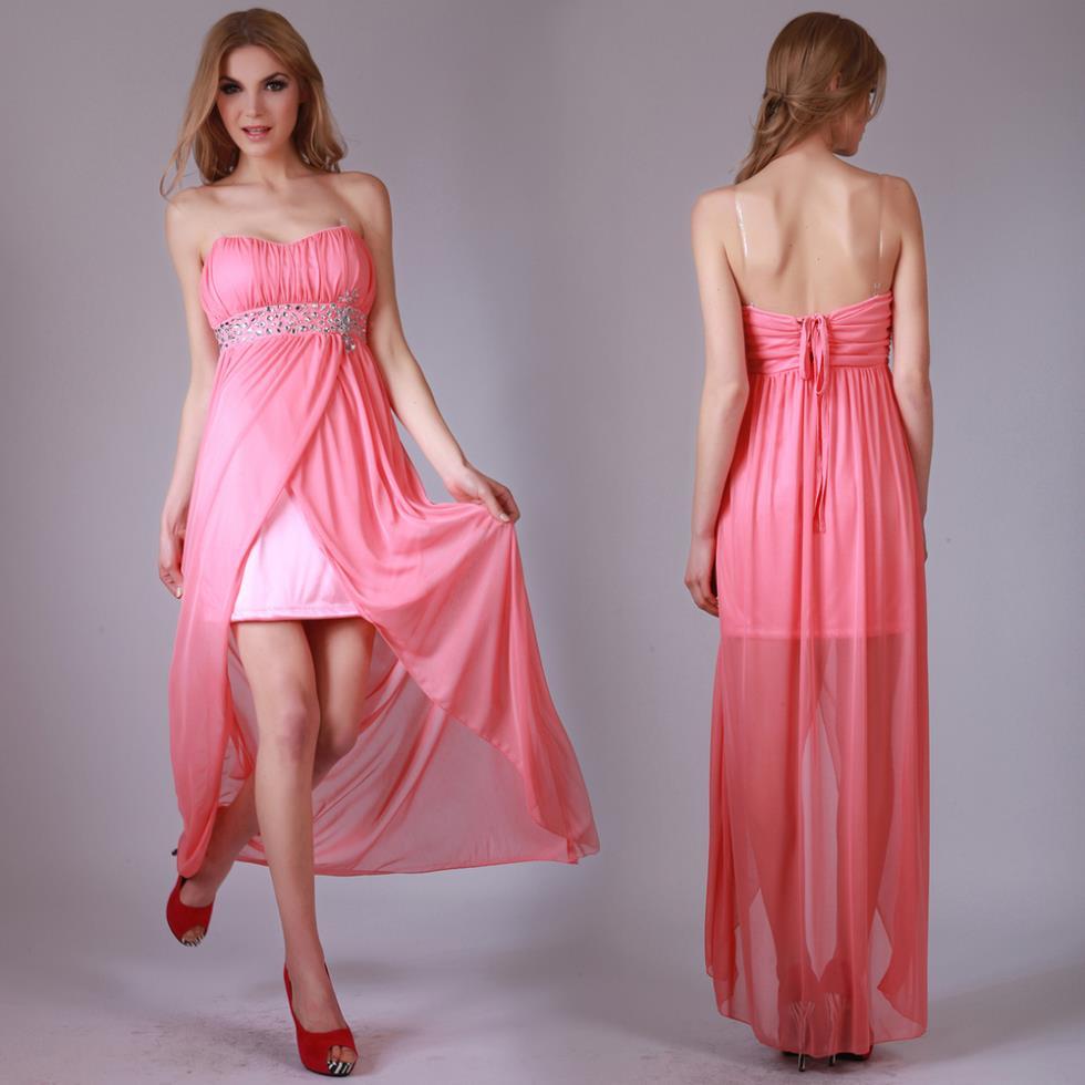2016 Carpet Free Shipping New Design Hot Sale Donna Bella Women Peach Long Dress Beaded Brides Maid Chiffon Graduation Dresses