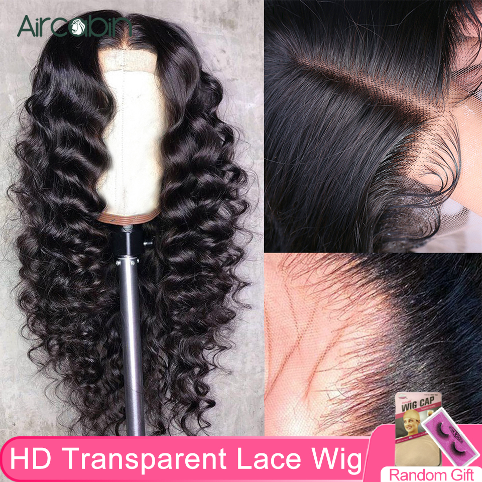 Aircabin 32 30 Inch 13x4 HD Transparent Lace Frontal Closure Wigs Loose Deep Wave Brazilian Human Hair For Black Women Non-Remy
