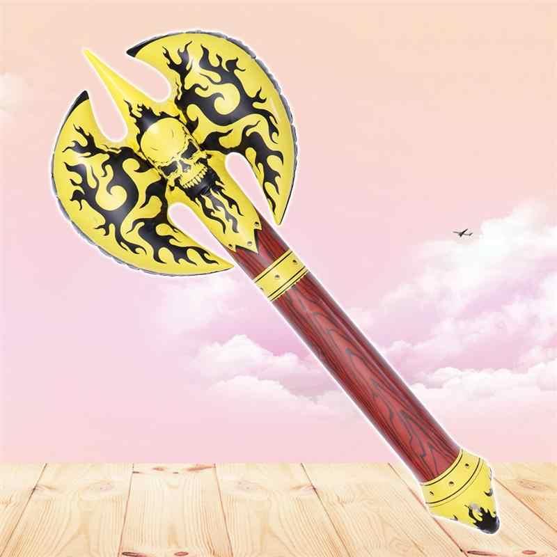 Juguete inflable Axe plástico soplar aire lleno arma novedad juguete Favor regalo para niños (amarillo)