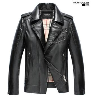 European and American men's PU leather sheep skin slim leather jacket fashion simple motorcycle suit collar leather men clothing