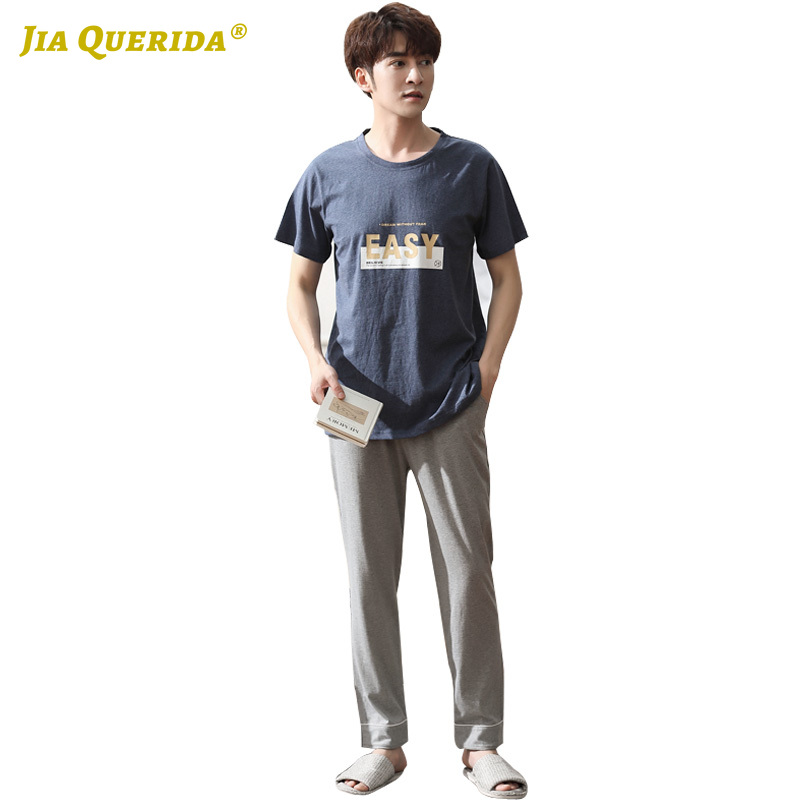 New Letter Printing 100% Cotton Crew Neck Short Sleeve Long Pants Fashion Man Clothes Sleepwear Pajamas Set Casual Style Pj Set