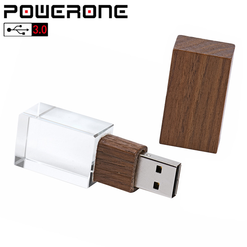 POWERONE USB 3.0 Wedding Photography Free Custom LOGO Wooden Crystal Wooden 64GB 32GB 16GB 4GB Memory Flashs Stick Pen Drive