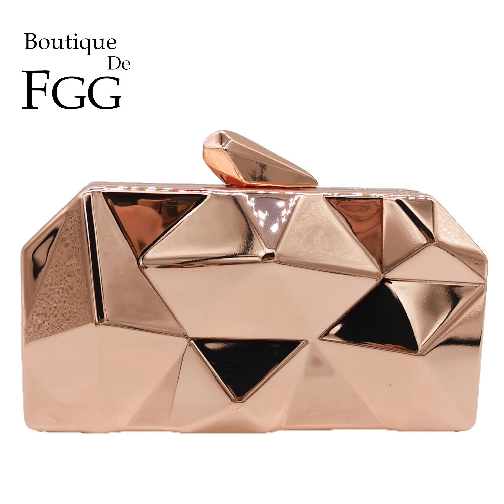 Boutique De FGG Hexagon Women Rose Gold Metal Clutches Fashion Evening Party Box Clutch Bag Chain Shoulder Handbag Purse-in Top-Handle Bags from Luggage & Bags