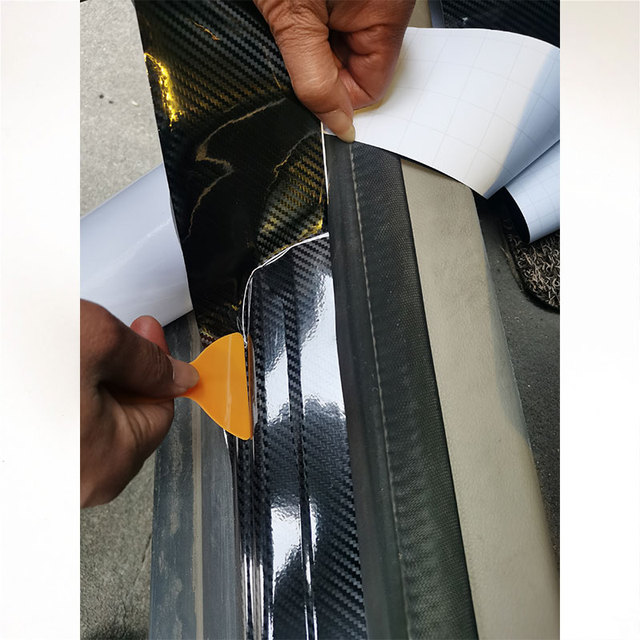 Nano Carbon Fiber Car Sticker DIY Paste Protector Strip Auto Door Sill Side Mirror Anti Scratch