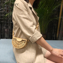 Half Moon Bamboo Beach Bag Women 2020 Summer Wooden Beaded Chains Mini Shoulder