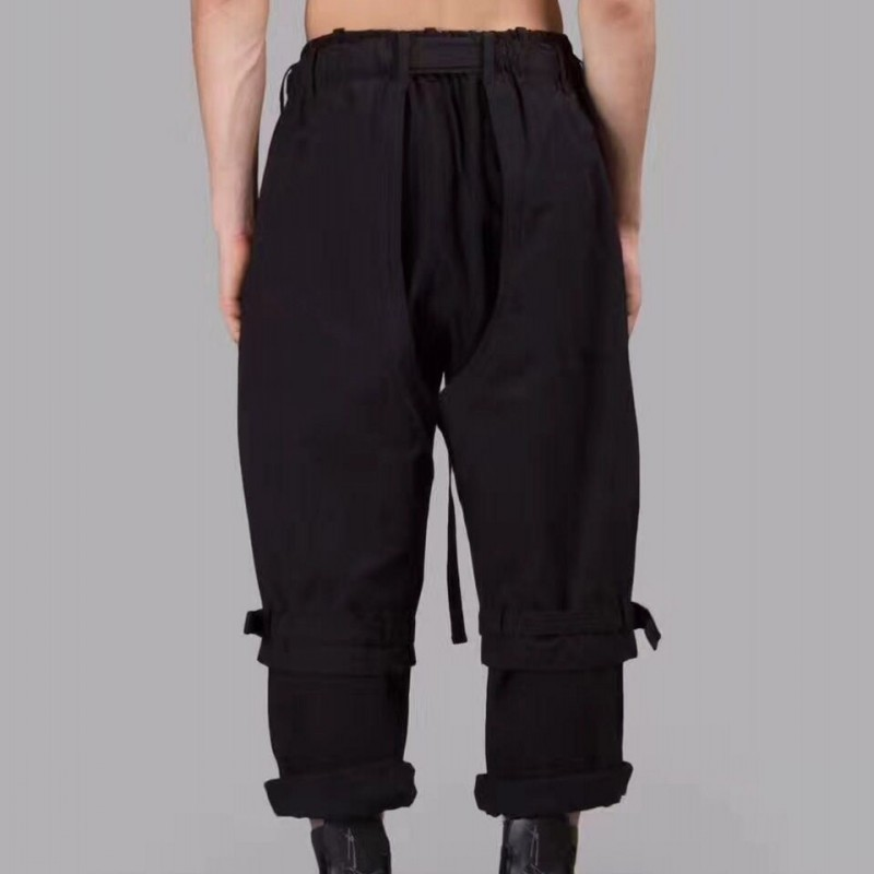 Men Casual Ankle Length Pants Designer Runway Street Loose Fit Hip Hop Pants Top Quality Black Wide Leg Baggy Pantalon Homme
