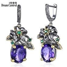Dreamcarnaval 1989 élégant prix incroyable boucles d'oreilles fleur Look grand bleu CZ pistolet noir Plus or couleur Base bijoux de tous les jours WE3799
