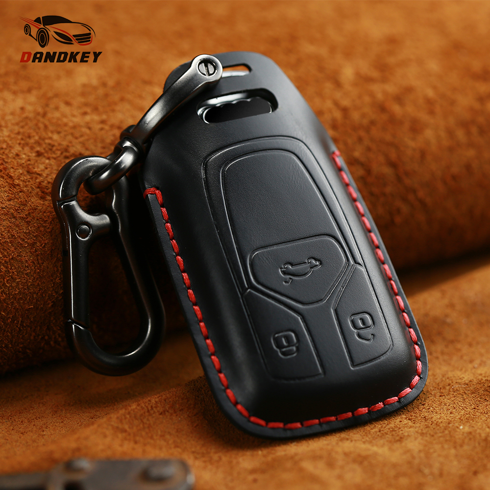 Dandkey Genuine Leather Remote Car Key Case For Audi A4 A4L 8S 2017 2016 Allroad B9 Q5 Q7 TT TTS Protector Key Cover Keychain