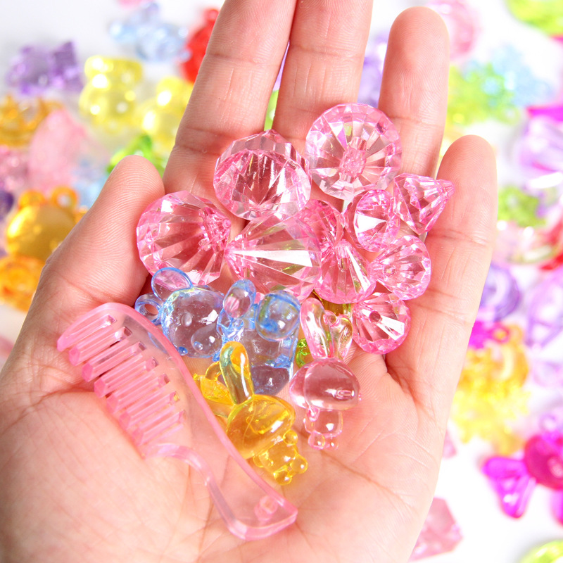 Children Gem Treasure Hunt Game Prop Acrylic Plastic Gemstone Crystal Diamond Beads Reward Toys Creative DIY Jewelry 50/100/150G