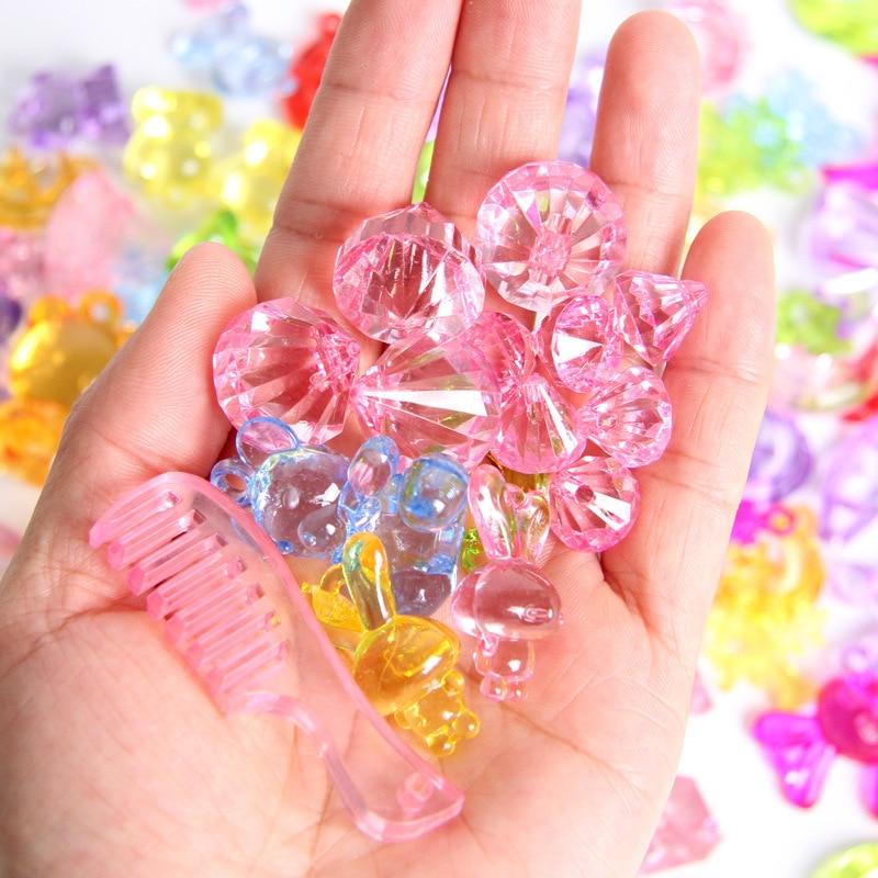 Children Gem Treasure Hunt Game Prop Acrylic Plastic Gemstone Crystal Diamond Beads Reward Toys Creative DIY Jewelry 50/100/150G