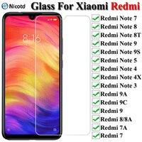 9H Gehärtetem Glas Für Xiaomi Redmi Hinweis 7 8 9 9s Screen Protector Glas Redmi Hinweis 5 4 4X 3 Schutz Glas Für Redmi 9 9A 8 8A