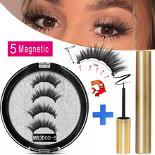 MB New Long 5 Magnetic Eyelashes Eyeliner Set 3D Mink Eyelashes Thick Faux Cils Magnetique Natural Glue Free Magnet False lashes